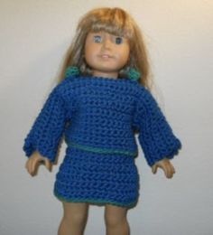 Free American Girl crochet pattern for a long sleeve sweater and an a-line skirt