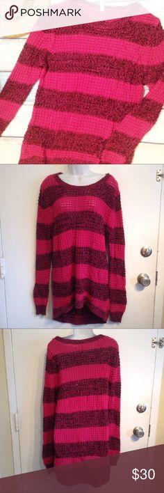 BOBBIE BROOKS Plus Size Striped Knit Sweater Bobbie Brooks plus size pink/magenta and black striped knit sweater. Has a few small pulls. Size 3x. Very stretchy. No modeling. Smoke free home. I do discount bundles. Bobbie Brooks Sweaters Crew & Scoop Necks