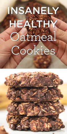 These INSANELY Healthy Oatmeal Cookies are made with just 6 ingredients and have no gluten, dairy, eggs, sugar or oil! free recipes for kids videos Insanely Healthy Oatmeal Cookies Easy Homemade Recipes, Good Healthy Recipes, Healthy Sweets, Healthy Baking, Paleo Food, Healthy Drinks, Healthy Foods, Healthy Carbs, Paleo Meals