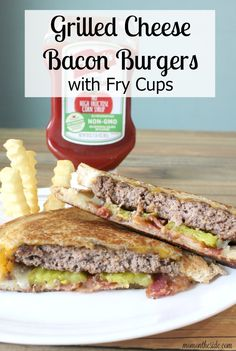 Whether it's lunch or dinner, delicious Grilled Cheese Bacon Burgers and Fry Cups make meal time fun! Get this easy recipe for the family! Wrap Recipes, Easy Dinner Recipes, Easy Meals, Easy Recipes, Burger Recipes, Beef Recipes, Cooking Recipes, Friend Recipe, Good Food