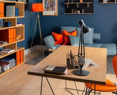 Rich, and strong in colour. Office Color Schemes, Home Office Colors, Office Decor, Blue Office, Hue Color, Colours, Cabinet Plans, Paint Brands, Color Trends