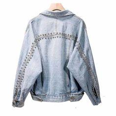 Denim Rivet Jacket ARISTOCRATIC Studded Denim Jacket, Denim Jacket Men, Denim Coat, Customised Denim Jacket, Outerwear Jackets, Jean Jackets, Street Wear, Clothes For Women, Basic Clothes