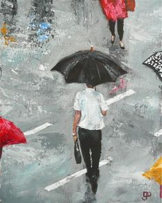 "Daily Paintworks - ""Singing In The Rain"" - Original Fine Art for Sale - © Leanne Owen"