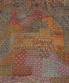 Пауль Клее. Городской замок, 1932  ...Музыканта Клее захватывала архитектура, в ней он чувствовал и слышал ритм, он наверняка смог бы сыграть на скрипке самые любимые свои здания. И именно ритм рождает эту сетчатую, строгую технику заполнения квадратов разными красками. Клее расколдовывает архитектуру, она уже больше не застывшая музыка – она движется и поет...