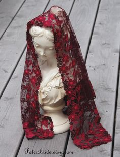 Wine Mantilla in Honor of St. Alodia by PetersBride on Etsy. $50