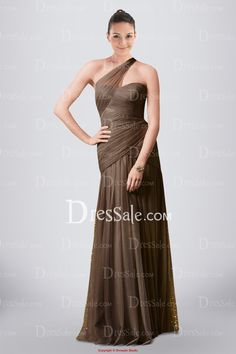 Fascinating Tulle Sheath Bridesmaid Dress with Unique Asymmetrical Neck and Ruches
