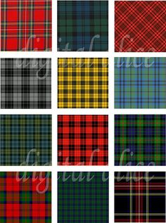 Colorful TARTAN PLAIDS Instant Download Paper by DigitalAlice