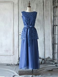 Classic Royal Blue Scoop Neck Lace Chiffon with Bow Ankle-length Mother of the Bride Dress - dressesofgirl.com