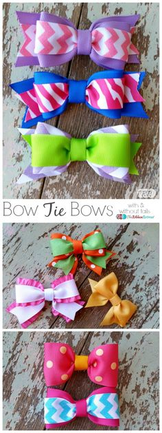 with and without tails - The Ribbon Retreat bows Making Hair Bows, Diy Hair Bows, Diy Bow, Diy Ribbon, Ribbon Crafts, Tie Bows With Ribbon, Ribbon Flower, Fabric Hair Bows, Bow Making