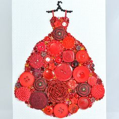 Button Art Red Gown Vintage Button Art by PaintedWithButtons