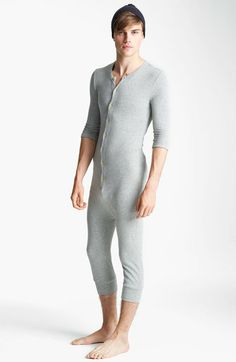 Topman Gray Waffle Knit Union Suit