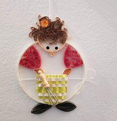 "Quilling ""Köchin"" Preis 14 € Maße ca. 15 x 11 cm Quilling, Christmas Ornaments, Holiday Decor, Home Decor, Art, Random Stuff, Sculptures, Canvas, Bedspreads"