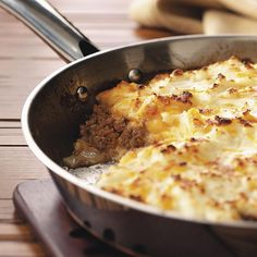 Skillet Shepherd's Pie For 2 Recipe -Leftover mashed potatoes? Add them to a few pantry staples and you'll have warm comfort food in no time! —Sharon Tipton, Orlando, Florida