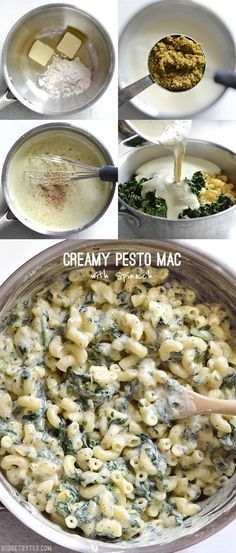 This simple creamy sauce packs huge flavor thanks to a small dollop of basil pesto. Creamy Pesto Mac is creamy comfort with some hidden vegetables, too! @budgetbytes