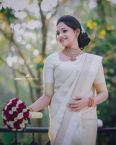 Christian Wedding Dress, Christian Bridal Saree, Christian Weddings, Christian Bride, White Saree Wedding, White Bridal, South Indian Wedding Hairstyles, Bridesmaid Saree, Bridal Sari