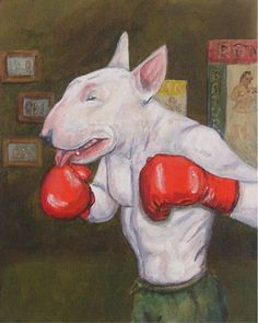 The Welterweight Boxing Bull Terrier art print par spearmintjoe Chien Bull Terrier, Bull Terrier Funny, Bull Terrier Tattoo, Caricatures, Nanny Dog, English Bull Terriers, Mini Bull Terriers, Bullen, Bully Dog
