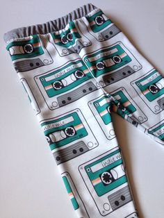 Indie Rock N Roll Mix Tape Organic Cotton Jersey Knit Pants Leggings for Babies, Toddlers and Kids - Boy or Girl Pick the Waistband & Cuffs