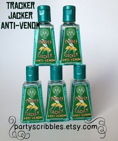 Tracker Jacker Anti-Venom Labels for Hunger Games party favor hand sanitizers
