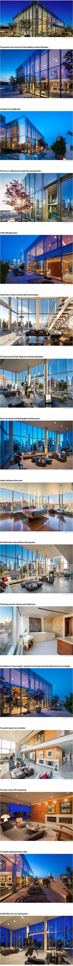 A penthouse at Skylofts on Hudson Street in TriBeCa that looks like a glass cube has returned to the market with a $48 million listing price, according to The New York Daily News. The  four-bedroom, 4.5 bathroom apartment has 360-degree views of Manhattan and the Hudson River. It's being sold by William Duker, a private investor who did a stint in prison for defrauding the government.