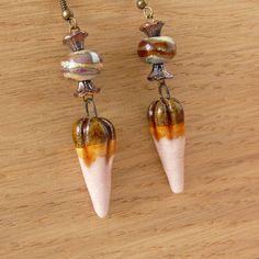 Ceramic Lampwork Earrings, Gift for Women Mother Sister Girlfriend, Statement Earrings, Artisan Jewelry, Bridesmaid Bridal Earrings by bleuluciole on Etsy