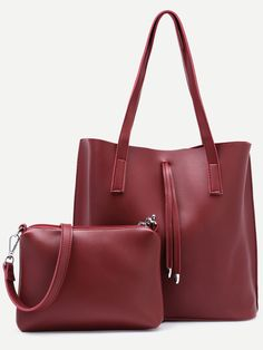 #AdoreWe #SheIn Bags - SheIn Burgundy Tote Bag With Crossbody Bag - AdoreWe.com