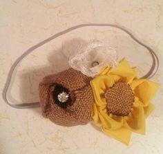 Handmade Sunflower And Burlap Headband ♥