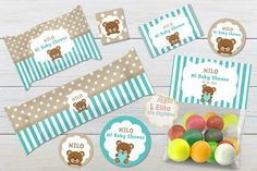 Kit imprimible Oso Corazón Decoración Cumpleaños Niños   Etsy Banner Letters, Pennant Banners, Imprimibles Baby Shower, Mini Flags, Welcome Poster, Party Organization, Thanks Card, Bag Toppers, Flag Decor