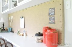 burlap memo board  http://www.beneathmyheart.net/2013/07/decorative-burlap-memo-board-for-my-office/