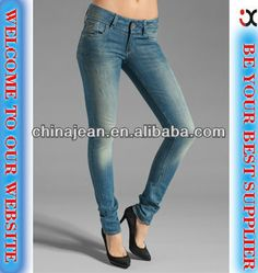 2014  women denim jeans manufacture china (JX2037)  1. low waist  2. skinny style  3. OEM service  4. 100% cotton denim jeans
