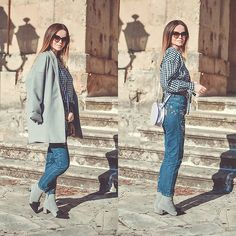 Get this look: http://lb.nu/look/8576917  More looks by Tamara Bellis: http://lb.nu/tamarabellis  Items in this look:  Zaful Blouse, Sammydress Jeans, Zaful Boots, Asos Coat   #casual #chic #street