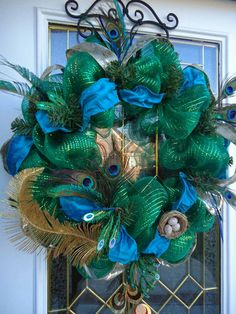 Christmas Peacock Brilliance - Emerald Green Mesh Wreath Peacock Feathers and Plumes, Teal Silver Paisley Ribbon, Rhinestones and Birds Nest