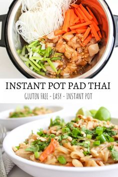 The easiest and most delicious Instant Pot Pad Thai, made in less than 30 minutes! pot recipes thai Instant Pot Pad Thai - Gluten Free - The Bettered Blondie Slow Cooker Recipes, Cooking Recipes, Healthy Recipes, Healthy Food, Crockpot Recipes Gluten Free, Instapot Vegan Recipes, Healthy Pressure Cooker Recipes, Healthy Pad Thai, Pressure Cooking