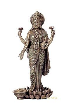 Lakshmi Statue, 26 cm Big Standing Goddess Lakshmi Idol, Laxmi Idol. Hindu Goddess of Money, Wealth, Abundance, Fortu... Lakshmi Statue, Ganesh Statue, Shiva Photos, Hindu Culture, Metal Figurines, Good Luck Gifts, Shiva Shakti, Goddess Lakshmi, Lord Vishnu