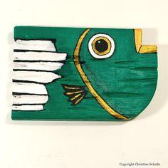Fish Decor Painted Wood Green Folk Art