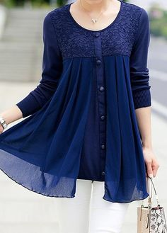 Chiffon Patchwork Button Embellished Navy Blue Blouse on sale at Rosewe.com, free shipping worldwide, check it buy now.
