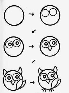 Kunst Zeichnungen - draw owl cartoon tutorial step by step for kids Art Drawings For Kids, Doodle Drawings, Drawing For Kids, Easy Drawings, Animal Drawings, Doodle Art, Art For Kids, Owl Drawing Easy, Owl Doodle
