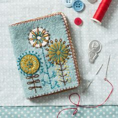 Buy Corinne Lapierre Felt Needle Case Craft Kit from our Craft, Crochet & Sewing Kits range at John Lewis & Partners. Felt Embroidery, Embroidery Needles, Hand Embroidery Stitches, Embroidery Techniques, Embroidery Sampler, Needle Case, Needle Book, Needle Felting, Stitch Book