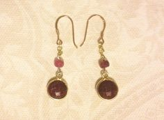 Bezel-Set Faceted Ruby Coin Earrings in Gold Plated 925 by Nylissa
