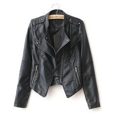 SheIn(sheinside) Black Lapel Rivet Zip Pocket PU Leather Jacket (1.245 UYU) ❤ liked on Polyvore featuring outerwear, jackets, sheinside, leather jackets, black, pleather biker jacket, lapel jacket, leatherette jacket, zip jacket and biker jacket