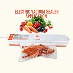 Electric Vacuum Sealer Machine Vacuum Sealing System Automatic Food Vacuum Saver with 15 Vacuum Bags For Home Kitchen Sale, Kitchen Items, Kitchen Gadgets, Kitchen Appliances, Cheap Vacuum, Vacuum Bags, Vacuum Sealer, Packing, Kitchen Accessories