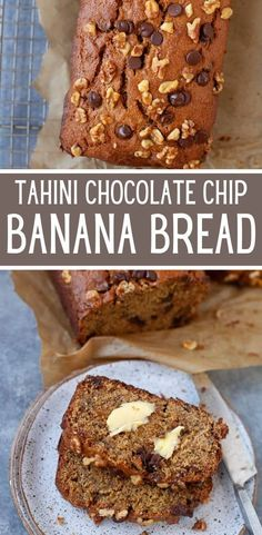 This Tahini Chocolate Chip Banana Bread is perfect for an afternoon snack, breakfast or even dessert! All the goodness of banana bread plus that delicious nutty flavor from the tahini! #breakfast #bananabread #recipes #wholewheat #almondmilk #coconutoil #brownsugar #walnuts Vegan Brunch Recipes, Vegan Snacks, Sweets Recipes, Whole Food Recipes, Loaf Recipes, Desserts, Yummy Recipes, Savory Bread Recipe, Chocolate Chip Banana Bread