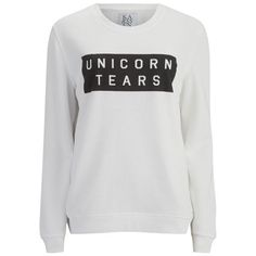 Zoe Karssen Women's Unicorn Tears Sweatshirt - White ($57) ❤ liked on Polyvore featuring tops, hoodies, sweatshirts, sweaters, shirts, white, white shirt, crew neck shirt, graphic shirts and unicorn sweatshirt