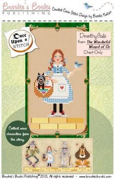 cross stitch patterns : Wizard of Oz Dorothy Gale Brooke's Books fairy tale counted hand embroidery by thecottageneedle on Etsy
