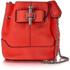 Carven Malher Petit Sanguine Leather Bucket Bag (590 CAD) ❤ liked on Polyvore featuring bags, handbags, real leather purses, real leather bag, red purse, red handbags and genuine leather bag