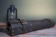 Leather Chef's Knife Roll by OakLeafLeather on Etsy