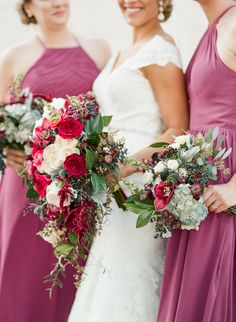Berry and magenta wedding bouquets: http://www.stylemepretty.com/florida-weddings/2017/03/17/berry-blue-winter-wedding/ Photography: Emily Katharine - http://www.emilykatharine.com/