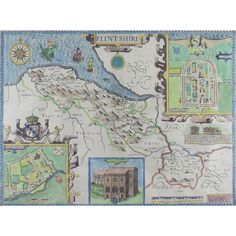 John Speed (1552-1629), an engraved 'Theatre of Great Britain' county map of Flintshire, Wales. John Speed (1552-1629), an engraved 'Theatre of Great Britain' county map of Flintshire, Wales. The engraving is later hand coloured depicting Flintshire and it's towns, villages, rivers, forests, hills and mountains with inset town plans of Flint and Saint Asaph, an inset view of Saint Winifred's Well and English text to verso. Published in London by John Sudbury