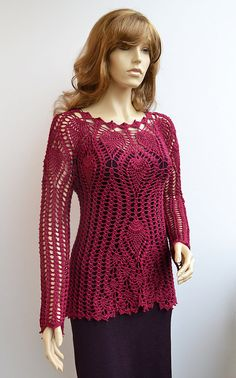 Blusa de suéter de ganchillo hecho a la orden crochet por dosiak