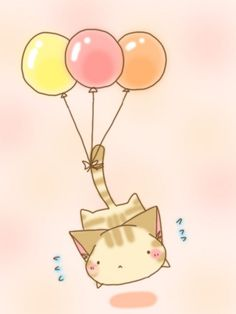 A cute kitty cat with baloons