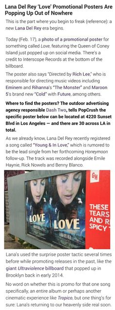 News about Lana Del Rey's new promo posters! #LDR